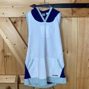 ivy park   backless sleeveless hoodie blue white
